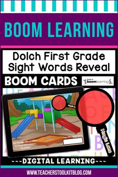 THIS IS AN INTERACTIVE DIGITAL RESOURCE. Download the preview to play a shortened version of the Boom Deck – this will help you decide if the resource is suitable for your students. ABOUT THIS BOOM DECK: This school-themed, 41 card deck, will help young learners practice and review Dolch First Grade Sight Words in a fun and engaging way!  Students should drag the 'MAGIC LENS' over the secret word to reveal it.