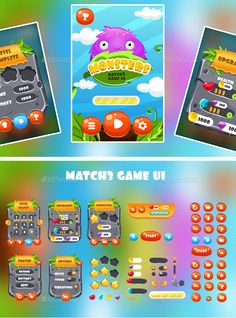 Match 3 GUI Design Template - User Interfaces Game Assets Design Template Vector EPS, AI Illustrator. Download here: https://graphicriver.net/item/match-3-gui/19419024?ref=yinkira