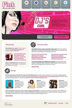 Pink Website Templates by Di Dj Website, One Page Website, Movie Schedule, Party Hire, Website Template, Music Bands, Good Music, Entertainment, Templates