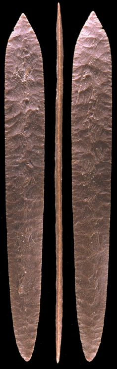 "Large Aztec biface 24 1/4 inches long.  This extraordinarily large biface is one of the most skillfully made examples in the world and is a testimony to the highly skilled Aztec ""flint smiths"" of Pre-Columbian Mexico.  There are no more than a handful of flintknappers today that would be able to duplicate this large ceremonial knife. But the difficultly today, just as it must have been for the Aztec craftsmen, was the availability of material big enough to make bifaces this large."