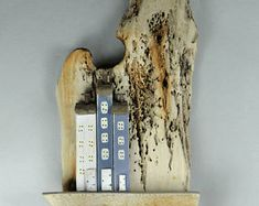 Driftwood Wall Hanging Picture with Little Houses - Handmade # 740