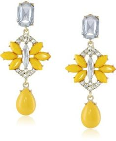 Opaque and Stone Flower Posted Shiny Gold Drop Earrings The Mindy Project, Mindy Kaling, Gold Drop Earrings, Pretty Little, Dangles, Lavender, My Style, Celeb Style, Fashion Accessories