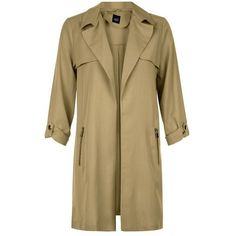 New Look Teens Khaki Zip Pocket Trench Coat ($16) ❤ liked on Polyvore featuring outerwear, coats, zip coat, zip trench coat, beige coat, trench coats and long sleeve coat