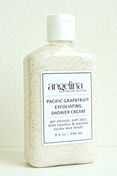 New! Fresh out of the Lab for your bathing pleasure: Pacific Grapefruit Exfoliating Shower Cream With scrubby Bamboo and polishing Jojoba beads, you'll be your softest self. #smallbatch #artisan #buylocal #angelinaorganicskincare #naturalbeauty