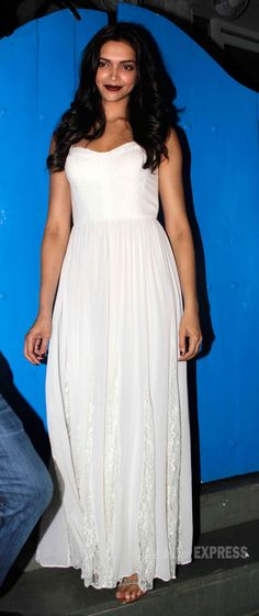 Deepika Padukone looked elegant in a white maxi dress