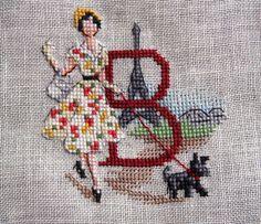 Cross Stitch Letters, Cross Stitch Boards, Stitch 2, Brick Stitch, Christmas Alphabet, Eiffel, Cross Stitching, Stitch Patterns, Needlework