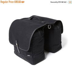 FLASH SALE Black Canvas Double Bicycle Pannier / by AlbanBikeBags