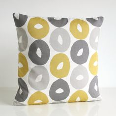 One pillow cover in trend colours of light mustard,grey, pale yellow, dove grey, grey beige, dark grey, warm grey and pale white. A modern Scandinavian collection of beautiful soft cottons. FABRIC Front - Please select your pattern from the drop down menu above:  1. Scandi circles mustard (100% cotton)  https://www.etsy.com/shop/CoupleHome?ref=l2-shopheader-name