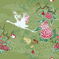 Washable Wall Mural Seamless background with crane and ikebana ✓ Easy Installation ✓ 365 Day Money Back Guarantee ✓ Browse other patterns from this collection!