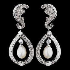 Antique Rhodium Silver Diamond White Freshwater Pearl Kate Middleton Inspired Earrings 8915