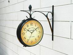 Metal Doublefaced wall haning clocks hot sale modern iron wall watch home  clock