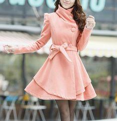 Pink  wool women coat women dress coat Apring Autumn Winter --CO062 on Etsy, $88.99