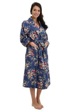 Del Rossa Women s 100% Cotton Lightweight Printed Bathrobe Robe 2ed79861e
