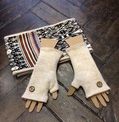 Parure mitaines et snood, col écharpe double tour en soie rayures multicolores et laine angora unie ivoire : Echarpe, foulard, cravate par lescrapoussines
