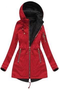 Dámska prechodná bunda parka červená W608 Raincoat, Outfit, Jackets, Fashion, Winter, Rain Jacket, Outfits, Down Jackets, Moda