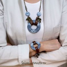 Jewelry Sets handmade. Livemaster - handmade. Buy set denim summer.Decoration necklace and bracel, denim and leather