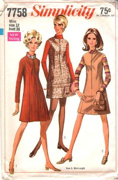 Vintage Sewing Pattern 60s MOD DRESS or Jumper in by HoneymoonBus, $7.99