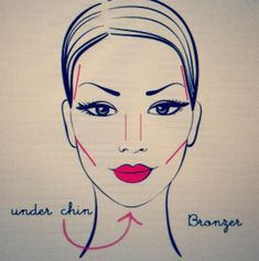 How to use Bronzer    Well make a 3 on your face where the red line are and DON'T make the lines harsh but blend it in!! ;D and BOOM!! Your bronzed!!! ;D