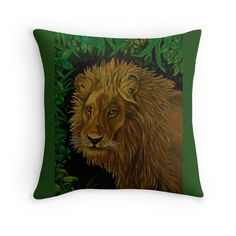Throw Pillow,  home,accessories,sofa,couch,decor,cool,beautiful,fancy,unique,trendy,artistic,awesome,fahionable,unusual,gifts,presents,for sale,design,ideas,items,products,green,colorful,lion,portrait,head,wild,animal,wildlife,redbubble