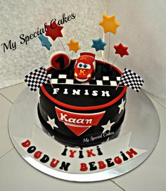 Cars Themed Cake Cartoon Cakes, Themed Cakes, Cars, Desserts, Food, Theme Cakes, Tailgate Desserts, Deserts, Autos