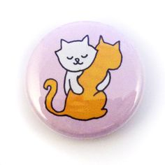 Kitty Hugs Button by sugarcookie on Etsy, $2.00