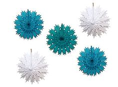 Made in USA turquoise blue, teal green, and white tissue paper snowflake decorations. 5-piece set sold on Amazon. #DevraParty