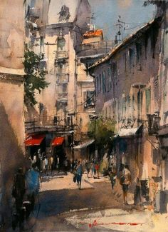 Avignon street by Vladislav Yeliseyev Watercolor ~ 14 x 10 Watercolor City, Watercolor Artists, Watercolor Landscape, Watercolor Paintings, Watercolors, Abstract Paintings, Oil Paintings, Painting Art, Urban Landscape