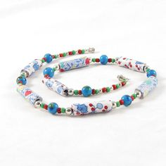 Fiber Necklace Blue Necklace Textile Necklace Fabric by Fibernique, $30.00