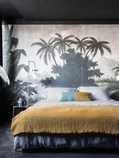 exotic wall mural behind bed. / sfgirlbybay