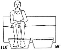 Contrast baths- contraindicated for small vessel disease secondary to diabetes, arthrosclerotic endarteritis, Buerger's disease (inflammation and thrombosis of vessels in hands/feet, secondary to smoking).  Temp 104-111 and 10-18.  Warm for 10' then cold for 1' then warm for 4' repeated until 30' is reached.