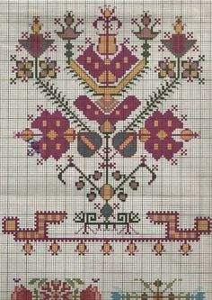Border Embroidery Designs, Folk Embroidery, Vintage Embroidery, Cross Stitch Embroidery, Embroidery Patterns, Cross Stitch Borders, Cross Stitch Flowers, Cross Stitching, Cross Stitch Patterns