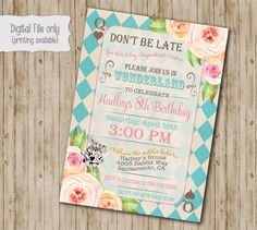 Alice in Wonderland Birthday Party Invitation, Alice in Onederland Birthday tea party invitation, Vintage floral Mad Hatter invite by SweetBeeDesignShoppe on Etsy https://www.etsy.com/listing/482248785/alice-in-wonderland-birthday-party