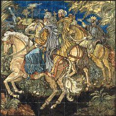 """Jorge Barradas   Painel de azulejos """"Os Reis Magos"""" / tiled panel   1945   Museu Nacional do Azulejo"""