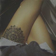 Mandala upper thigh tattoo by iris-flower