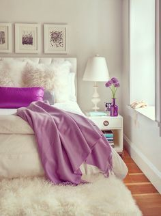 pop of purple in the bedroom. home decor and interior decorating ideas.