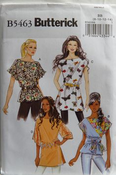 Butterick 5463 Misses' Top, Tunic and Sash