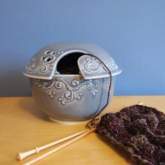 """WOW!!! Another beautiful yarn bowl! With this one the lid does the """"work""""."""
