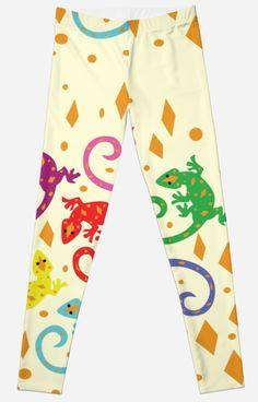 Colorful Lizards Leggings #lizards #animals #pets #pattern #reptiles
