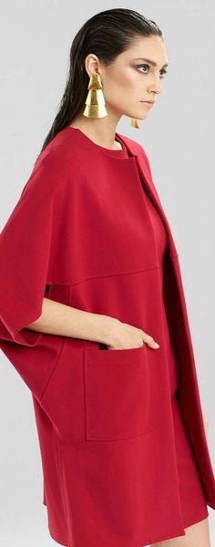 Josie Natori Double Knit Coat by lina Hijab Fashion, Fashion Outfits, Womens Fashion, Fashion Trends, Moda Chic, Knitted Coat, High End Fashion, Beautiful Outfits, Winter Fashion
