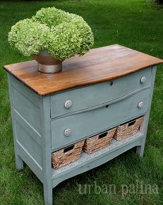 Dresser makeover - love the chalk paint contrast with the top on this chest of drawers and the impact of baskets when one drawer couldn't be fixed. Great example of upcycling.