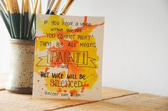 4x5 Yellow and Orange Watercolor Quote Painting  Van by TresBonn