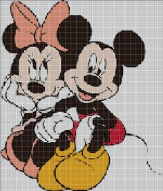 Minnie and Mickey cross stitch pattern by Vandihand on Etsy
