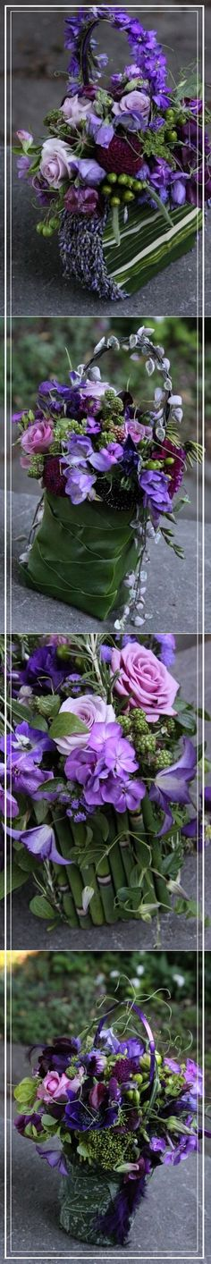 Flower purses for Bridesmaids with purple flowers 2