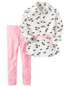 Toddler Girl 2-Piece Tunic & Neon Legging Set | Carters.com