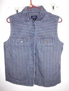 LIZ CLAIBORNE CRAZY HORSE Vest Top Striped Denim Button-Front Sz M Women EUC #LizClaiborneCrazyHorse