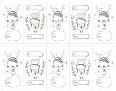 Free Holiday Tags 2 - fun hand sketched..