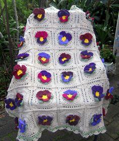 Edies crochet pansy afghan