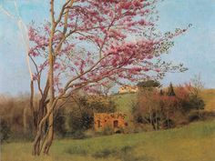 Landscape - Blossoming Red Almond by John William Godward
