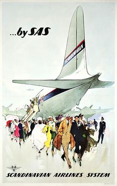 Vintage travel poster from SAS, Scandinavian Airlines System, ca1950. via flickr