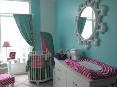 Bright and happy baby girl nursery | #BabyCenterBlog.  Could also change out the pink to make it gender neutral.